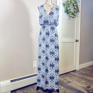 DANIEL RAINN V-Neck Sleeveless Print Maxi Dress S